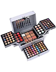 132 Color All In One Makeup Gift Set Kit- Includes 94 Eyeshadow, 12 Lip Gloss, 12 Concealer, 5 Eyebrow powder, 3 Face Powder, 3 Blush, 3 Contour Shade, 2 Lip Liners, 2 Eye Liners, 4 Eyeshadow Brush