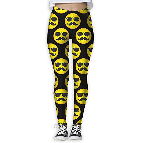 Smily Face With Mustache And Sunglasses Women's Slim Workout Full Length Yoga Pant Skinny Leggings Pants - Faces Sunglasses Skinny For