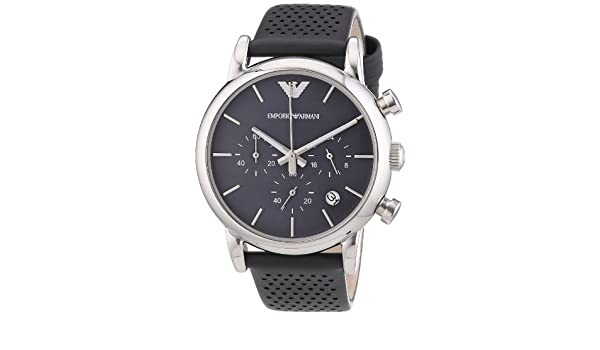 Amazon.com: Armani Classic Chronograph Grey Dial Grey Leather Strap Mens Watch AR1735: Emporio Armani: Watches