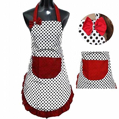 DZT1968 Cute BowKnot Ladys Girls Kitchen Restaurant Bib Cooking Aprons With Pocket for Women Vintage Apron Bib Chef Cooking Waitress (Black)