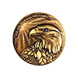 Christian Eagle Challenge Coin, Antique Gold Plated, American Bald Eagle & Isaiah 40:31