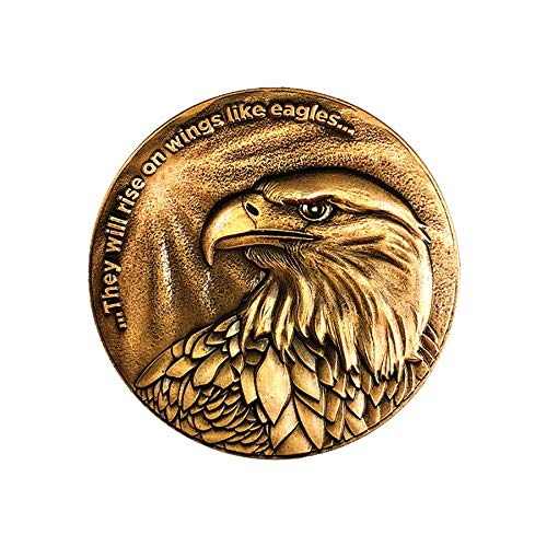 Christian Eagle Challenge Coin, Antique Gold Plated, American Bald Eagle & Isaiah - Coins Bald Eagle