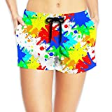 JIW Iaa Paint Splash Women's Funny Elastic Waist Shorts Quick Dry Lightweight Beach Shorts