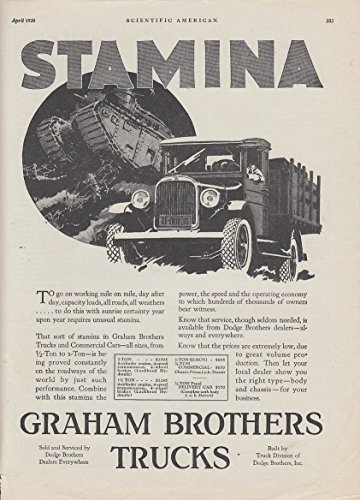 Stamina to go on working mile on mile Graham Brothers stakeside truck ad 1928 SA