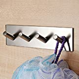 KES® A7064C Bathroom Lavatory Self Adhesive Coat and Robe Hook Rack/Rail with 4 Hooks, Brushed Stainless Steel Color: 4-Hook Model: