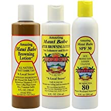 Maui Babe Variety Beach Pack (Browning Lotion 8 oz, After Browning Lotion 8 oz, and SPF 30 Sunblock 8 oz) by Maui Babe by Maui Babe