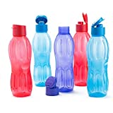 Signoraware Fliptop Aqua Plastic Bottle Set, Set of 5, 1 Litre, Multicolour