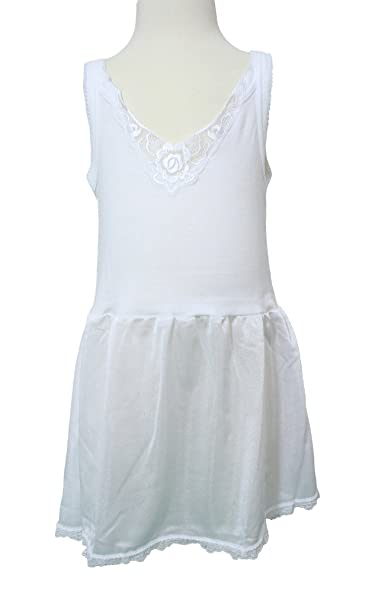 Coral Kids Girls Antistatic Rosette Lace Full Slip - White (Size 10)