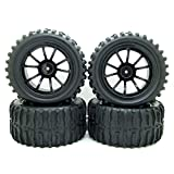 1:10 RC Monster Truck Car Wheel Tyre Tires with 5 Spokes Wheel Rim Black RC Parts Pack of 4