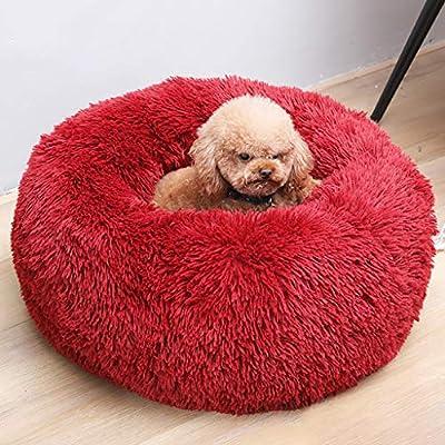 Bravetoshop - Cama para perro o gato, piel sintética para perros medianos y pequeños, autocalentamiento, para interior, almohada redonda, para dormir, cama calmante para perro, antideslizante, base impermeable, lavable a máquina: Amazon.es:
