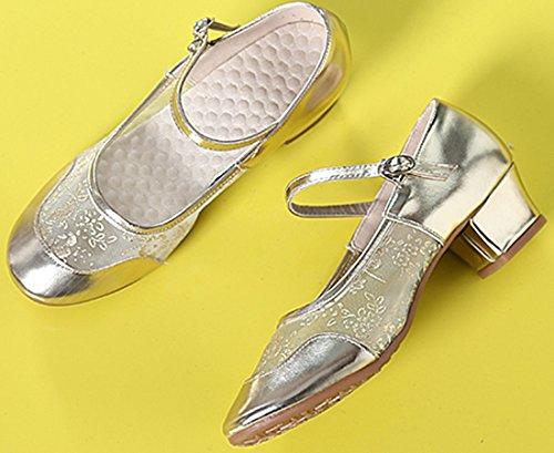 VECJUNIA Ladies Low Split Heel Softsole Mesh Ballroom Dance Training Shoes Gold gwGEF