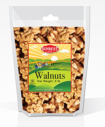 SUNBEST Natural Shelled Raw California Walnuts in Resealable Bag ... (3 Lb)