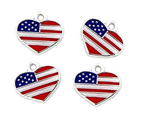 PlanetZia 6pcs Enameled American Flag Heart Charms for Jewelry Making TVT- (Flag Charm Earrings)