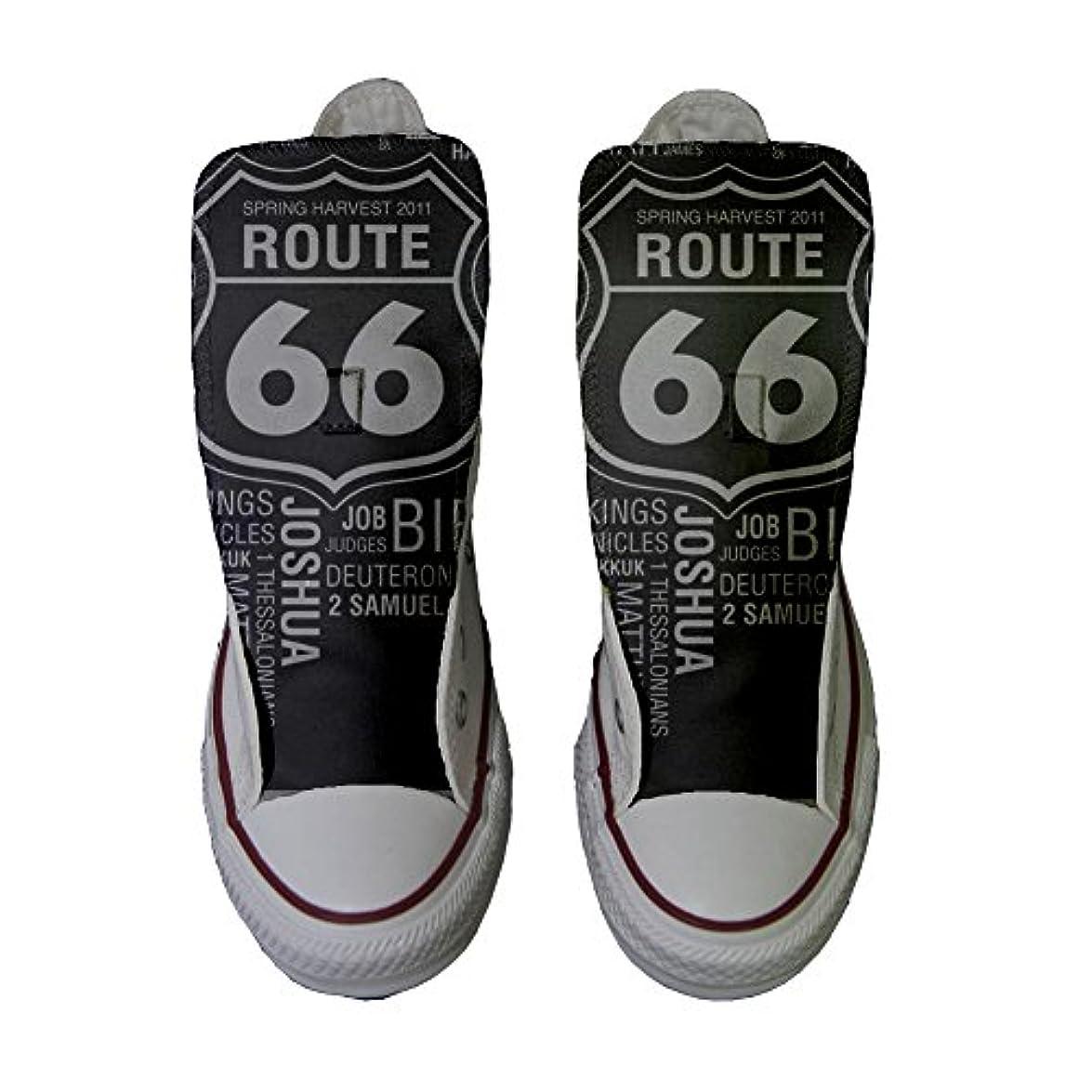 Converse Personalizzate All Star Hi Canvas Sneaker Unisex prodotto Artigianale Route 66 Black - Tg38