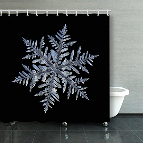 Emvency Shower Curtain Waterproof Snowflake Macro Photo Of Real Snow Crystal Captured Glass Large Dendrite Snowflake With Plastic Hooks Polyester Fabric Adjustable Curtain For Bathroom (Paisley Suede Curtain)