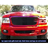 APS Compatible with 1994-1998 Ford Mustang Black Billet Grille Grill Insert Logo Area Trimmed Style F86005H