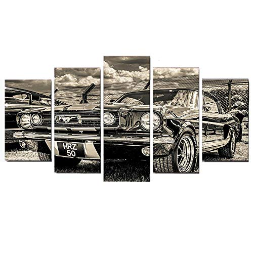 PENGDA Car Canvas Wall Art 5 Panels Sports Car 1965 Ford Mustang Modern Painting Pictures on Canvas for Home Decor Living Room