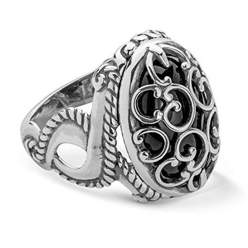 Carolyn Pollack Sterling Silver and Black Agate Gemstone Overlay Scroll Filigree Ring Size 8