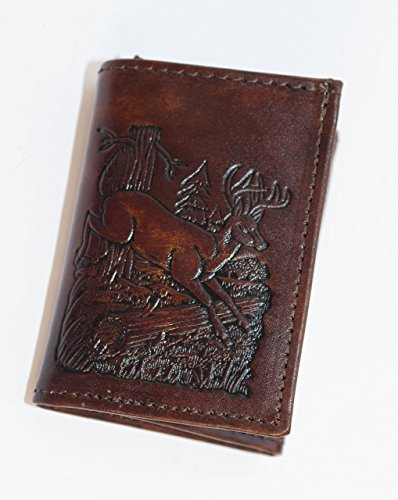 Mens Brown TriFold Wallet Genuine Leather with Deer Made in USA