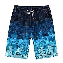 Aidle Men's Printing Quick Dry Beach Board Shorts Swim Trunks