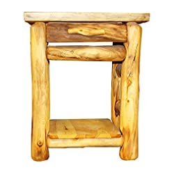 Bedroom Mountain Woods Furniture Aspen Heirloom Collection 1 Drawer Nightstand, Wood Pull, Poly Finish farmhouse nightstands