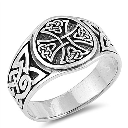 Large Celtic Knot Band - Celtic Knot Cross Wide Large Class Ring New .925 Sterling Silver Band Size 9