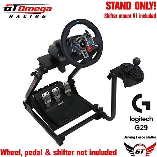 (GT Omega Racing Wheel Stand for Logitech G29 Driving Force Gaming Steering Wheel, Pedals & Gear Shifter Mount Set, PS4, Xbox, Ferrari, PC - Foldable, Tilt-Adjustable to Ultimate Sim Racing Experience)