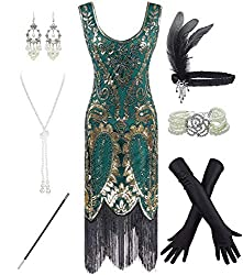 Gold & Green 1920s Fringe Beaded Dress with Costume Set