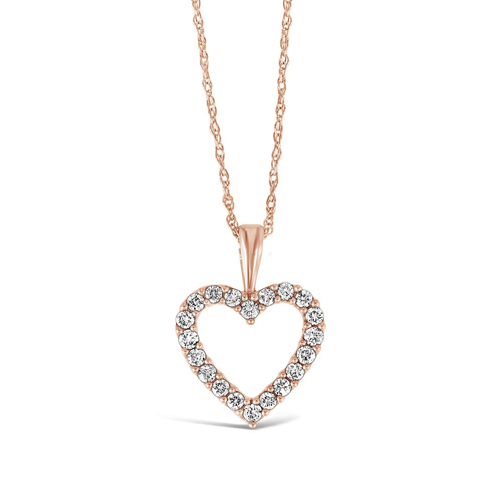 Brilliant Expressions 10K Rose Gold 1/4 Cttw Conflict Free Diamond Open Heart Pendant Necklace (I-J Color, I2-I3 Clarity), Adjustable Chain 16-18 inch