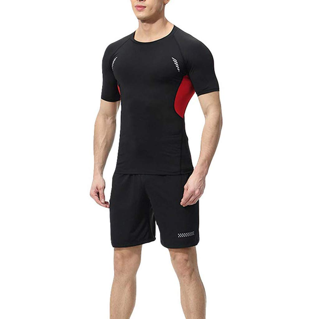Men Tight Fitness Set Quick Dry Short Sleeve Sport Set Exercise Shorts Pants Gym Elastic Running T-Shirt and Pants huz