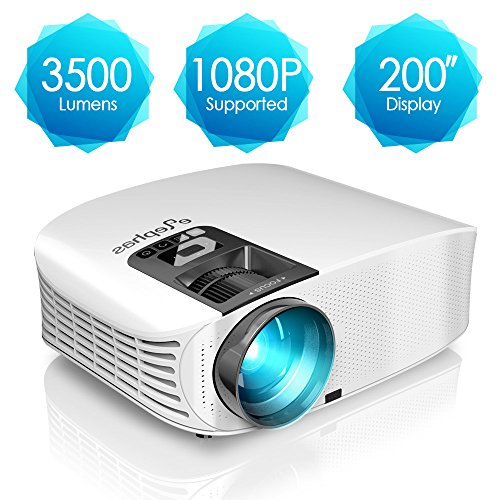 Projector, ELEPHAS 3500 Lumens HD Video Projector 200'' Home Cinema LCD...