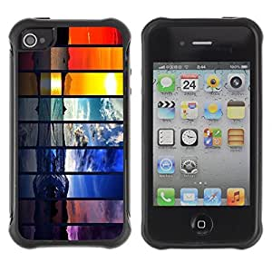 Hybrid Anti-Shock Defend Case for Apple iPhone 4 4S / Beautiful World Seasons