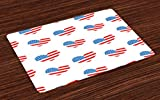 Lunarable Americana Place Mats Set of 4, Hearts Independence Day of America Memorial Celebration Balloons Party, Washable Fabric Placemats for Dining Room Kitchen Table Decor, Vermilion Blue White