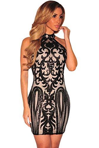 EZON-CH Women's Sexy Sparkling Sequin Tank Dress (S, Black Vintage)
