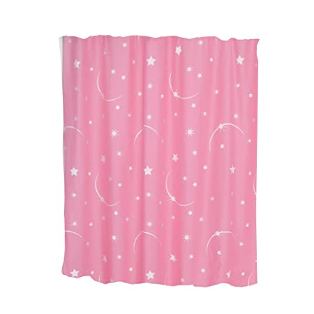 Veratex Stellar Moon And Star Glow In The Dark 72 Inch Shower Curtain Pink Amazoncouk Kitchen Home
