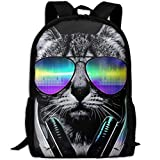 New Youth Funny Hip Hop Dj Cat 3D Print Backpack College School Laptop Bag Daypack Travel Shoulder Bag For Unisex