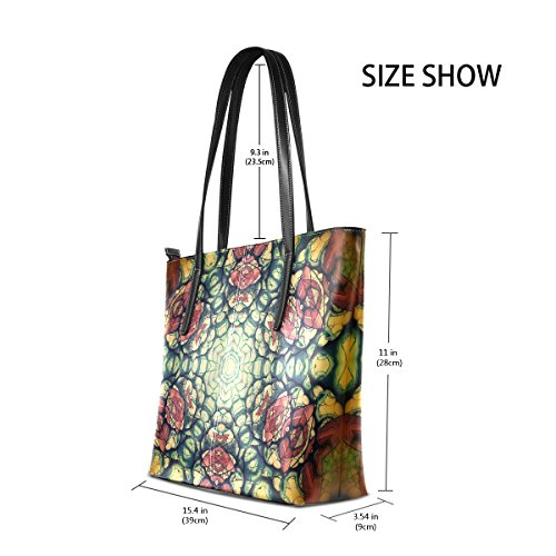 Leather Totes TIZORAX Top Purses Handbag Women's Shoulder Mandala PU Brown Flower Fashion Yellow Handle Bags qqYwp1