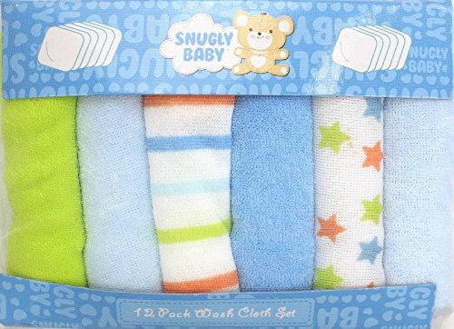 Enimay Baby Soft 12 Pack Washcloths Bathing Towels Cute Blue Designed