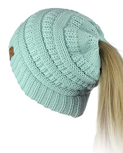 76e7ff71c8b C.C BeanieTail Soft Stretch Cable Knit Messy High Bun Ponytail Beanie Hat,  Mint