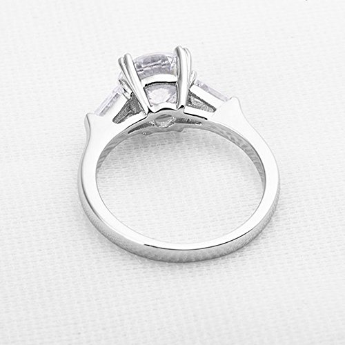 espere Sterling Silver 2 Carat CZ Baguette Round Solitaire Engagement Ring Bridal Wedding Jewelry by espere (Image #6)