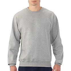 Fruit of the Loom Men's Crew Sweatshirt_Steel Grey Heather_Small