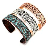 Thin Western Tooled Cuff Bracelet - Copper, Silver or Patina Finish