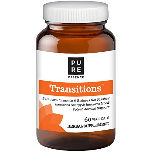 Transitions by Pure Essence Labs - Natural Menopause Relief Supplement - Promotes Hormone Balance, Reduces Hot Flashes, Mood Swings, Night Sweats - 60 Capsules ()
