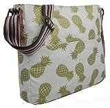 Kukubird Funky Gold Pineapple Crossbody Design Tote Top-Handle Shoulder Bag Handbag - White