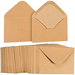A6 Envelopes Bulk - 100-Count A6 Invitation Envelopes, Kraft Paper Envelopes for 4 x 6 Inch Wedding, Baby Shower, Party Invitations, V-Flap Photo Envelopes, Brown, 4 3/4 x 6 1/2 Inches