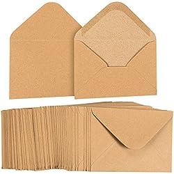 A6 Envelopes Bulk - 100-Count A6 Invitation Envelopes, Kraft Paper Envelopes for 4 x 6 Inch Wedding, Baby Shower, Party Invitations, V-Flap Photo Envelopes, Brown, 4 3/4 x 6 1/2 Inches