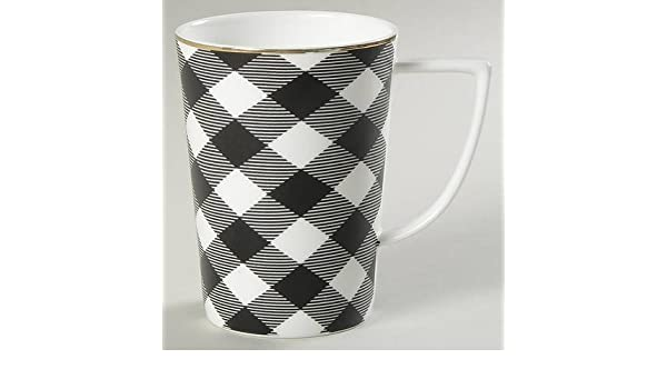 Ciroa Buffalo Check Black White Bone China Coffee Mug Set Of 2