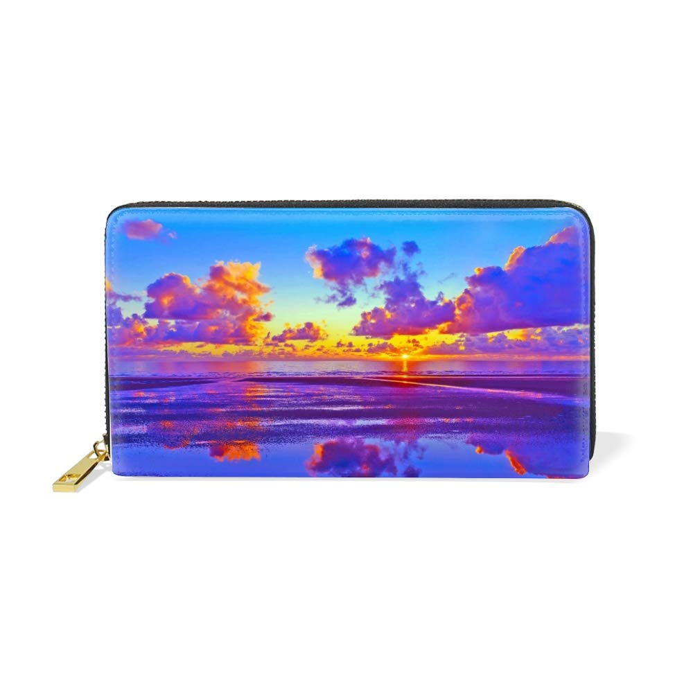 Womens Florida Beach Scene Large Capacity Soft Real Leather Wallet Checkbook Passport Holder