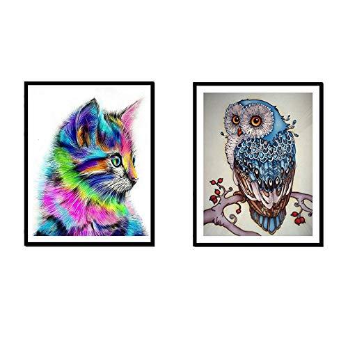 2-Pack DIY 5D Diamond Painting Kit, Diamond Owl & Cat Embroidery Rhinestone Cross Stitch Arts Craft Supply for Home Wall Decor (Owl & Cat) ()