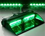 16 LED Emergency Strobe Lights Bar with 18 Flashing Mode for Interior Roof / Dash / Windshield Hazard Warning - Green